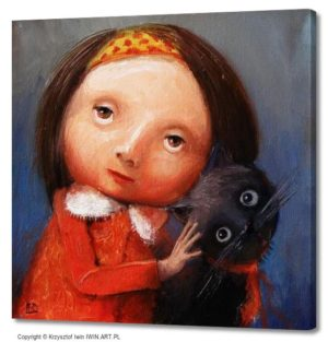 Portrait with cat (16x16″)