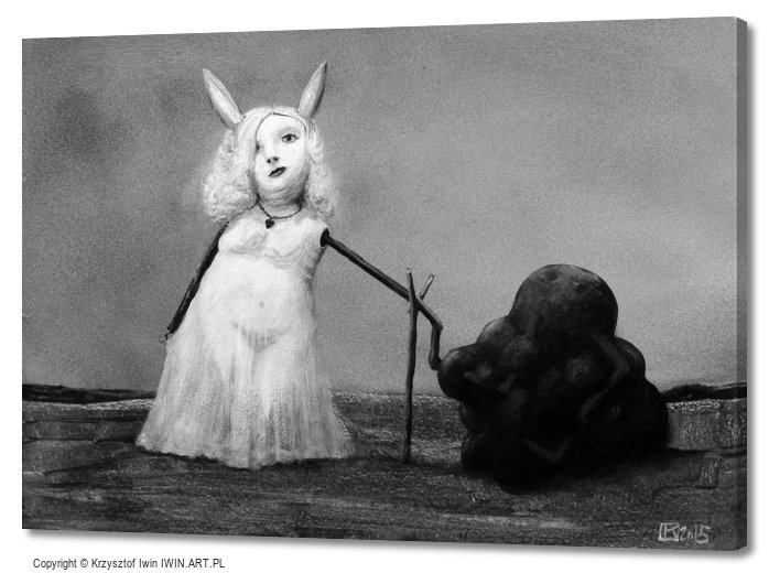 Bunny and tarry substance (28x20″)