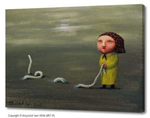 Grandma and earthworm (16x12″)