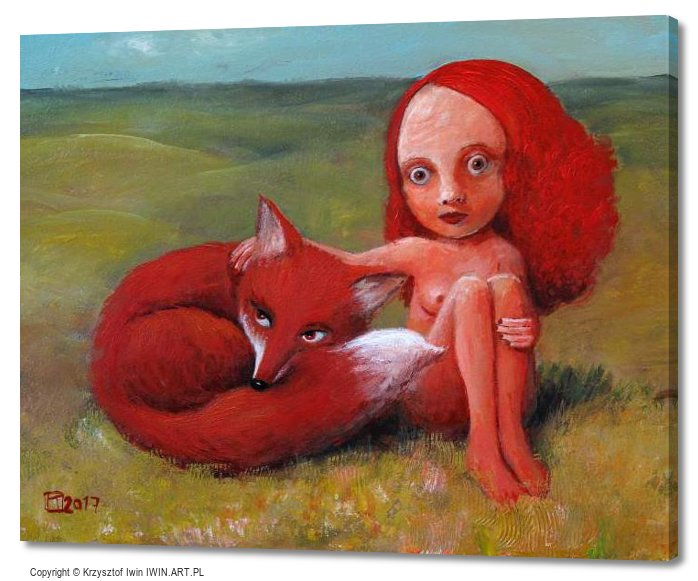 Girl with Fox (20x16″)