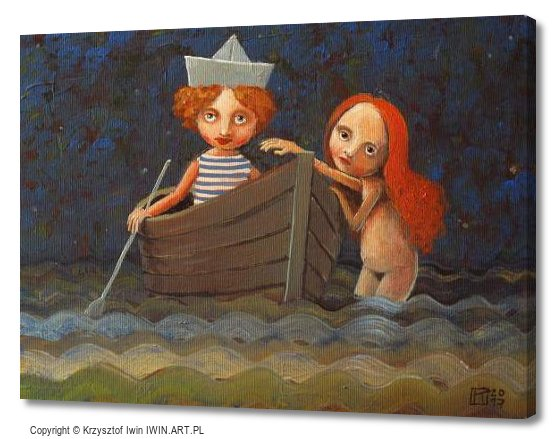Mermaid and Castaway (16x12″)