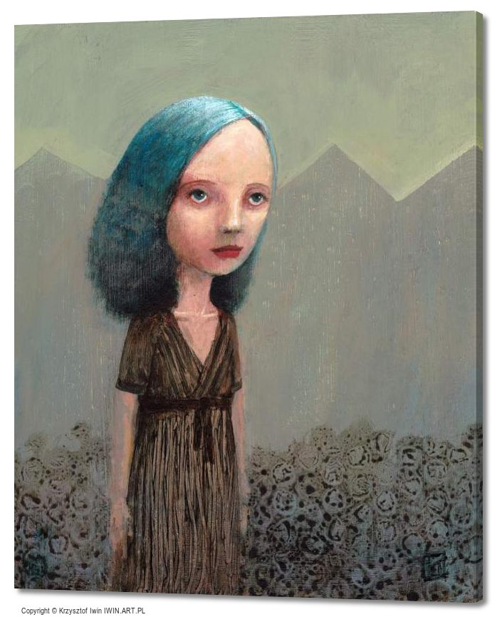 Portrait of a girl from the mountains in the background (20x24″)