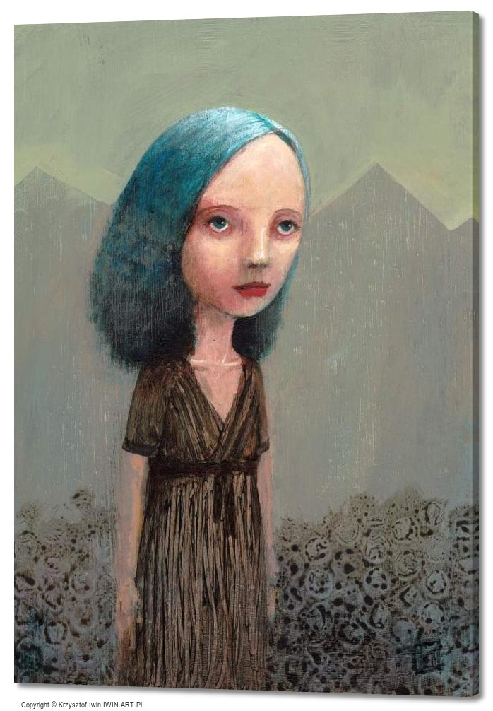 Portrait of a girl from the mountains in the background (20x28″)